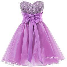 Purple Homecoming Dresses , Sweet 16 Dress, Sweetheart Organza Short Cute Homecoming Dresses / Party Dresses / Prom Dresses