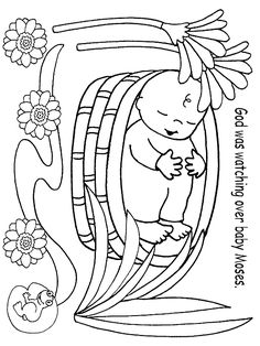 Moses, : Baby Moses was Safe in His Basket Boat Coloring Page ...