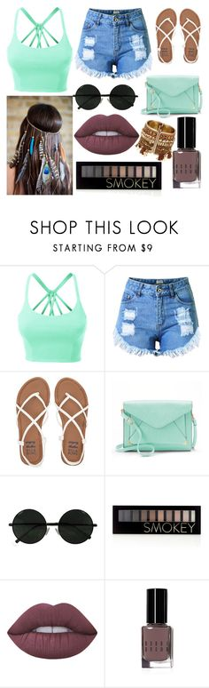 """""""Mexico"""" by kaligahay ❤ liked on Polyvore featuring LE3NO, Topshop, Billabong, Apt. 9, Forever 21, Lime Crime and Bobbi Brown Cosmetics"""