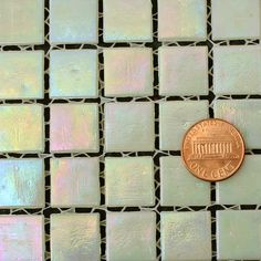Antique Ivory QBR20FX iridescent glass mosaic tile