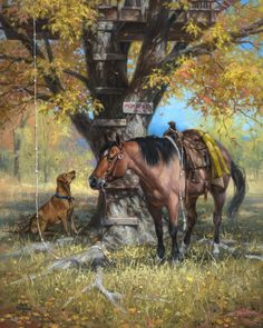PURCHASE PRINT This painting was done for the American Quarter Horse Museum's annual show. Every child who had a tree house can identify with this one. I had a tree house and I recently built one in our apple tree for my grandkids. They spend hours in it. That dog is wishing he was up …
