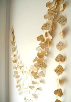 Old book paper garland, Wedding decoration, ...