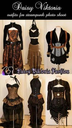 Steampunk fashion. Love the top left. May have pinned this before