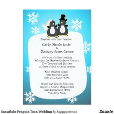 Snowflake Penguin Toon Wedding Card Fun cartoon penguins and snowflakes for a wedding your guests will be able to chill at. Lighten up you winter wedding with our adorable toon style invitation, perfect for aviary and winter weddings.
