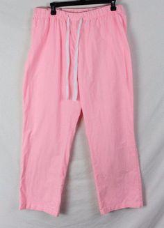 Lands End L size Pink White Stripe Cotton Blend Casual Sleep Lounge Pants #LandsEnd #CasualPants