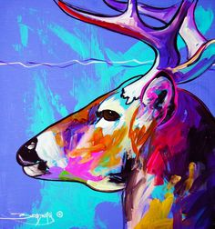 Original Colorful Acrylic Canvas Deer Painting by AnnLeeBArt ...