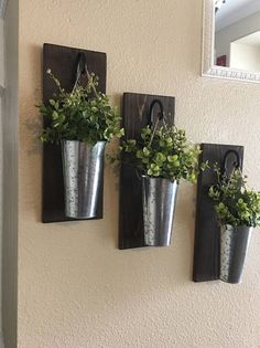 This listing is for a farmhouse inspired set of 2 or 3 Hanging Galvanized Vase Sconces. They are the perfect addition to a your home decor!! They are 14 tall and 5 wide. Scroll through the listing to see all of your wood finish options. Your will select your finish at checkout. You can also choose boxwood or the hydrangeas shown in pic 2 or no flowers or boxwood at all. I ship priority with tracking and insurance included! ❤️