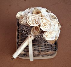 Handmade Bride Bouquet  Natural Sola Wood Flowers by TheSunnyB, $72.00