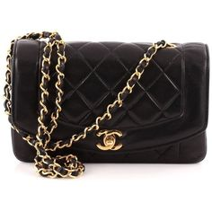 Chanel Vintage Diana Flap Bag Quilted Lambskin Small (1,620 CAD) ❤ liked on Polyvore featuring bags, handbags, flap bag, lambskin leather bag, lamb leather handbags, chanel bags and lambskin bag