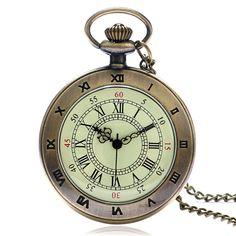 Hot Roman Vintage Open Face Copper Roman Number Dial Pocket Quartz Watch Necklace Pendant Men Gift