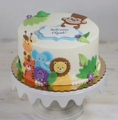 Jungle animal cake from Whipped Bakeshop, Fishtown, Philly - Anna - Jungle Birthday Cakes, Jungle Theme Cakes, Animal Birthday Cakes, Baby Boy 1st Birthday Party, Safari Cakes, Baby Birthday Cakes, Baby Boy Cakes, Jungle Safari Cake, Safari Baby Shower Cake