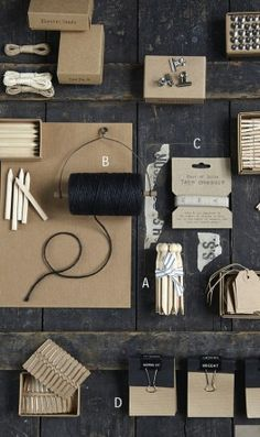 No nonsense little brown cardboard boxes full of useful bits you might need around the house or office.