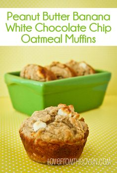 Peanut Butter Banana White Chocolate Chip Muffin Recipe @Christi Spadoni | Love From The Oven