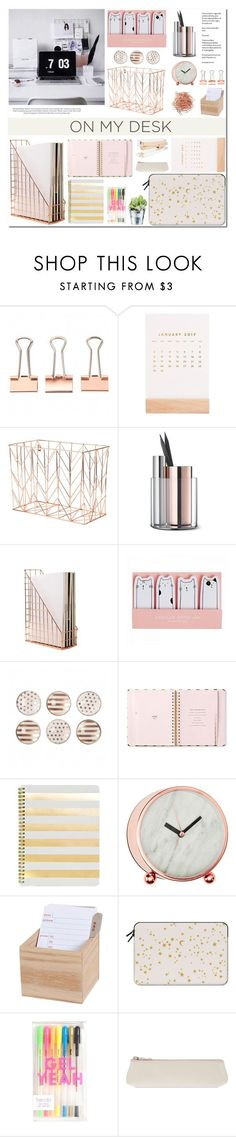 """On My Desk"" by makeupgoddess ❤️ liked on Polyvore featuring interior, interiors, interior design, home, home decor, interior decorating, Thrive, U Brands, Kate Spade and Beyond Object"