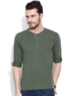 Dream of Glory Inc. Olive Green Henley T-shirt