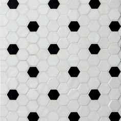 white and black hexagon tile bathroom Black White Bathrooms, White Bathroom Tiles, Black And White Tiles, Downstairs Bathroom, Black Hexagon Tile, Hexagon Tiles, Painting Tile Floors, Monochromatic Color Scheme, Tile Grout