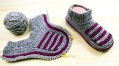 2 Ces repère en même temps que fibule ces dav - Tricot Pontos Baby Boy Knitting Patterns, Knitting Paterns, Knitting Videos, Knitting Socks, Baby Knitting, Knitted Slippers, Slipper Socks, Crochet Girls, Knit Crochet