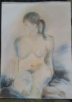 """""""BELLE""""  2017-1-2 ©DdB  Pastel op linnen 45 x 60.5"""