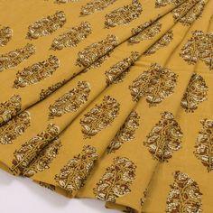 e8a18ec436794 Ajrakh Printed Yellow Cotton Blouse Material With Floral Motifs 10016239 -  AVISHYA.COM Yellow Blouse