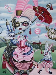 Marie Larkin - I've been lucky to see this in person at the 'We're All Mad Here' Alice inspired exhibition at Espionage Gallery Adelaide. Gorgeous!