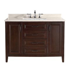 Ove Decors Cocoa Undermount Single Sink Birch Bathroom Vanity with Natural Marble Top (Common: 48-in x 22-in; Actual: 48-in x 22-in)