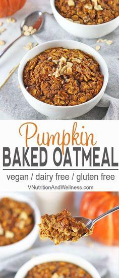 Vegan Baked Pumpkin Oatmeal | This vegan baked pumpkin oatmeal is a tasty and healthy breakfast option. Full of pumpkin goodness, it's a perfect for fall! vegan, breakfast, recipe, pumpkin, baked oatmeal, vegetarian, gluten-free #veaganoatmeal #vegan  via @VNutritionist