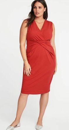 1ba4585df5 Womens Cross Front Right Said Red Sheath Dress Size 4X Old Navy Flirty Fun   OldNavy