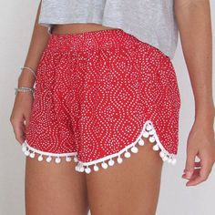 Casual Sexy Dot Print Elastic Waist Fringe Beach Hot Shorts