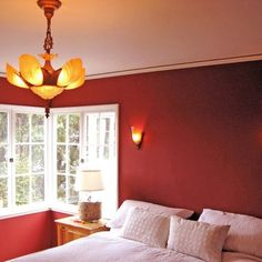 Red Bedroom with Nice Wall Lamp facing Cool Hanging Lamp above Double Bed and Home Decorating Ideas Painting plus White Tile Window closed Table Lamp