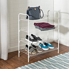 Honey-Can-Do SHO-01172 4-Tier Closet Storage Shelf, White.  Versatile coated steel shelving unit provides fours levels of easily accessible storage space with a simple design. Sturdy wire shelves are perfect for sweaters, shoes, bags, or anything you'd like to keep organized and visible. Slightly elevated shelf back keeps items in their place. Perfect for the laundry room, bedroom closet, garage, or mudroom. Metal Storage Racks, Bench With Shoe Storage, Closet Storage, Storage Shelves, Storage Spaces, Garage Storage, Storage Ideas, Steel Shelving Unit, Wire Shelving