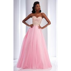 Clarisse 2702 Prom Dress 2016 Long Strapless Sleeveless ($330) ❤ liked on Polyvore featuring dresses, formal dresses, pink, pink sleeveless dress, strapless dress, pink dress and sparkly dresses