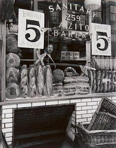 Berenice Abbott, Zito's Bakery, 259 Bleecker Street, gelatin silver print. The Jewish Museum, New York. Berenice Abbott, Vintage New York, Greenwich Village, Man Ray, New York City, Bakery New York, Italian Bakery, Italian Deli, Vintage Italian