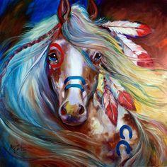 M BALDWIN ORIGINAL INDIAN WAR HORSE OIL PAINTING  ~ MARCIA BALDWIN #Abstract