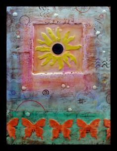 Encaustics and mixed media on wood panel, Crystal Hover