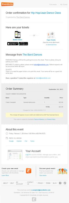 Order confirmation e-mail