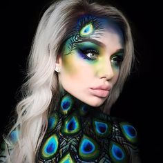 Amazing peacock makeup The post Amazing peacock makeup appeared first on Best Pins for Yours - Makeup Ideas The Peacock Eye Makeup, Bird Makeup, Animal Makeup, Face Paint Makeup, Fx Makeup, Airbrush Makeup, Eyeshadow Makeup, Makeup Ideas, Creepy Makeup