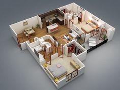 Plantas de Casas com 2 Quartos com Cozinha Americana - http://dicasdemulheres.com/plantas-de-casas-com-2-quartos-com-cozinha-americana/