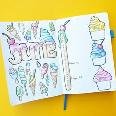 Omg!😲 This June month cover by @sj_bujo is full of sweets.🍦🍨🍧🍭 I'm drooling and craving at the same time.😋🙊 The colors are awesome!🌈 -…