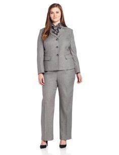 Le Suit Women's Plus-Size 3 Button Herringbone Notch Collar Jacket and Pant Suit Set           ($97.20)