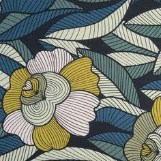 Tissu coton épais fleurs Rousseau