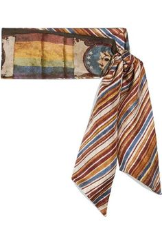 Valentino - Printed Silk-twill Scarf - Brown - one size