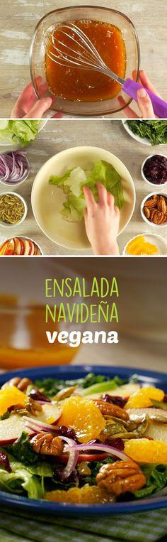 Deliciosa ensalada con vinagreta agridulce vegana sin productos lácteos para disfrutar en ocasiones especiales.
