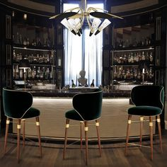 Gentlemen's office study library den man cave with the right feel to it Louis Bar Chairs - Contemporary Armchairs & Club Chairs - Dering Hall Bar Lounge, Restaurant Design, Restaurant Bar, Bar Chairs, Dining Chairs, Room Chairs, Office Chairs, Club Chairs, Side Chairs
