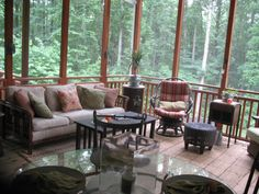 A screened in porch surrounded by trees is at the top of my list of ultimate happy places! I don't think I'd ever leave the screened porch, if I had one!
