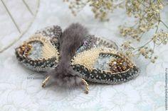 """Купить брошь мотылек с норкой """"Графиня"""" - серый, брошь мотылек, мотылек, брошь бабочка"""