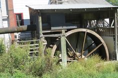 """The 18' 6"""" wooden water wheel with a 4' face is calculated to produce ..."""