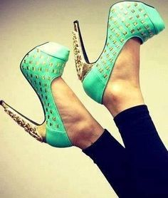 blue sparkly high heels
