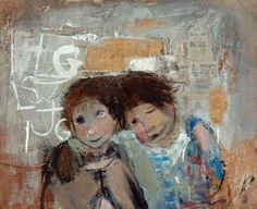 Joan Eardley. Children and chalked wall.