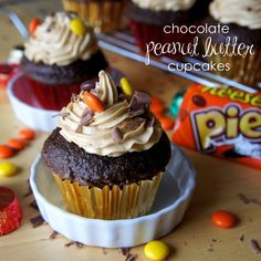 Chocolate Peanut Butter Cupcakes with Peanut Butter Buttercream Frosting!