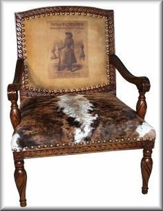 Carved Frame Leather Cow Hide Chair - 294P - Annie Oakley Spirit of the West Chair
